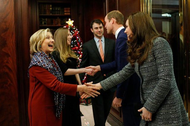 Hillary Rodham Clinton, Chelsea Clinton, Marc Mezvinsky, Prince William, Duke of Cambridge and Catherine, Duchess of Cambridge attend a reception co-hosted by the Royal Foundation and the Clinton Foundation at British Consul General's Residence on December 8, 2014 in New York City.