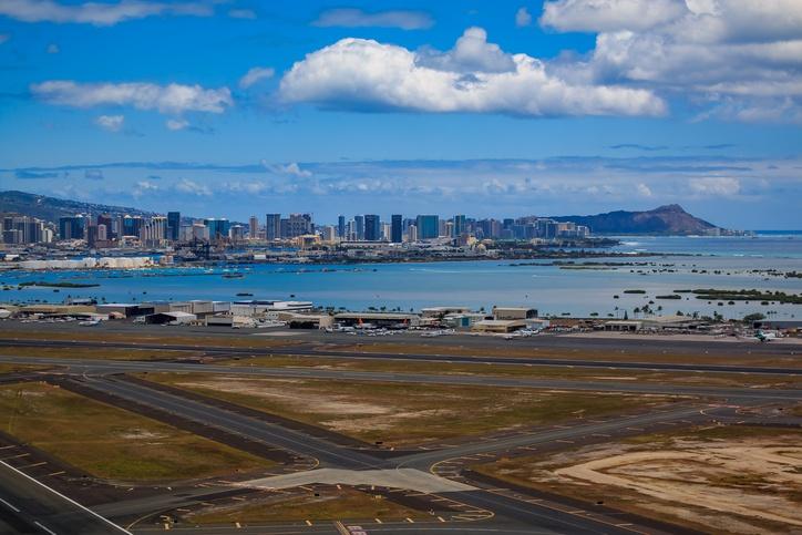 Honolulu airport and skyline