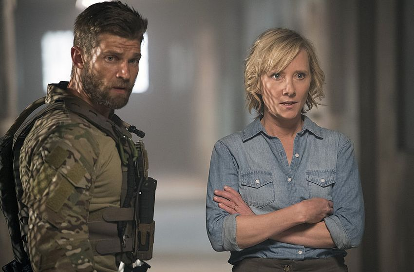 """THE BRAVE -- """"Break Out"""" Episode 104 -- Pictured: (l-r) Mike Vogel as Captain Adam Dalton, Anne Heche as Patricia Campbell -- (Photo by: Lewis Jacobs/NBC)"""