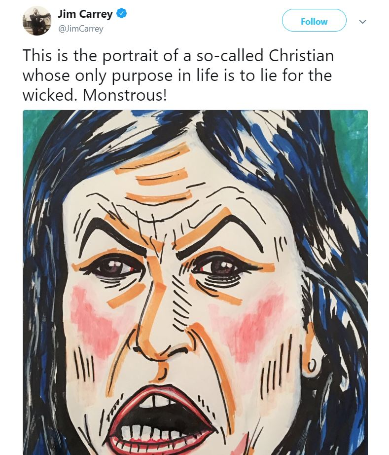 Jim Carrey's painting of Sarah Huckabee Sanders