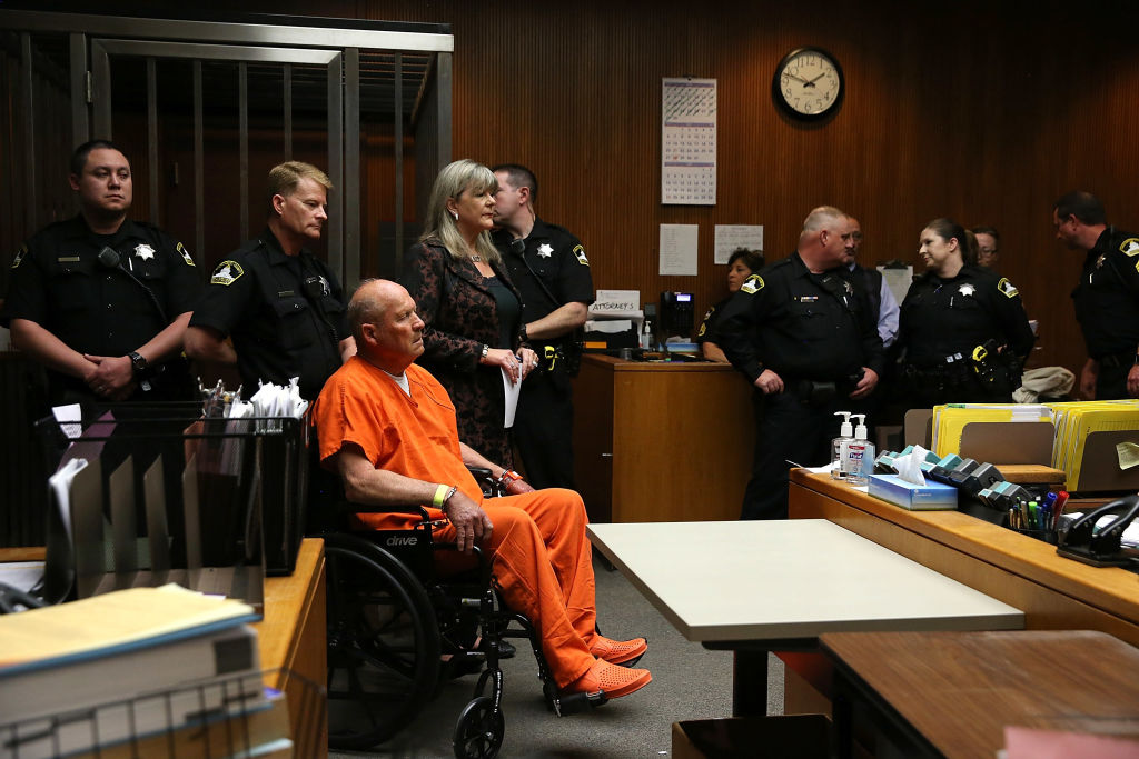"Joseph James DeAngelo, the suspected ""Golden State Killer"", appears in court for his arraignment on April 27, 2018 in Sacramento, California."