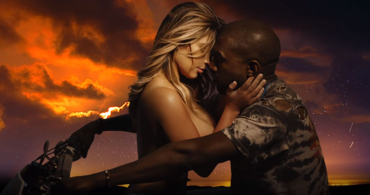 "Kim Kardashian and Kanye West in the ""Bound 2"" music video"