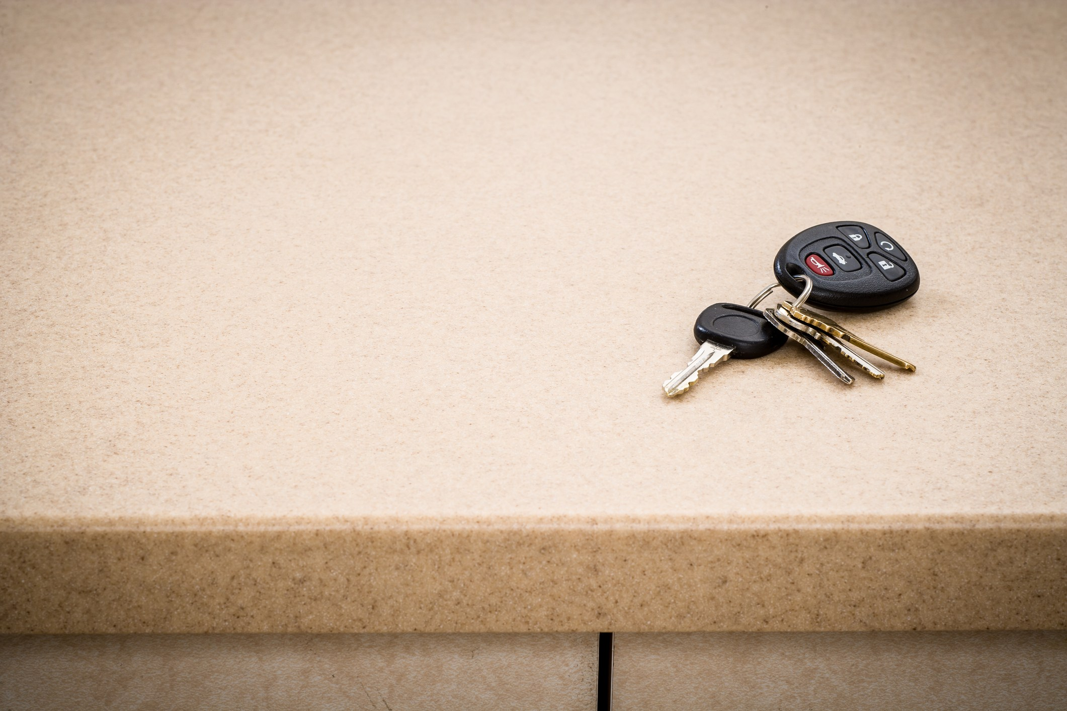 Kitchen counter with car keys