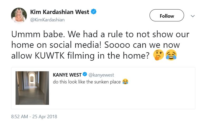Kim Kardashian tweet at Kanye West
