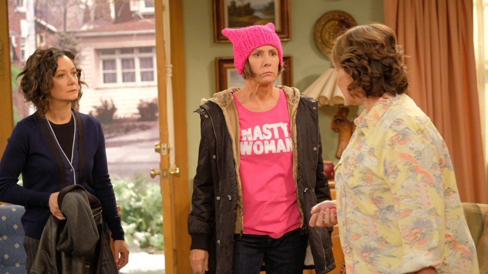 Sara Gilbert, Laurie Metcalf, and Roseanne Barr