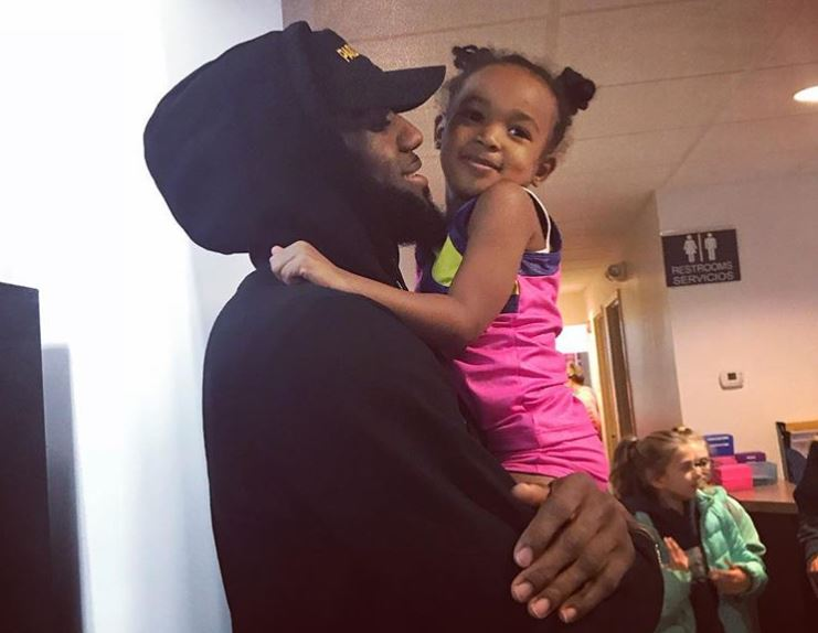 LeBron James and daughter Zhuri
