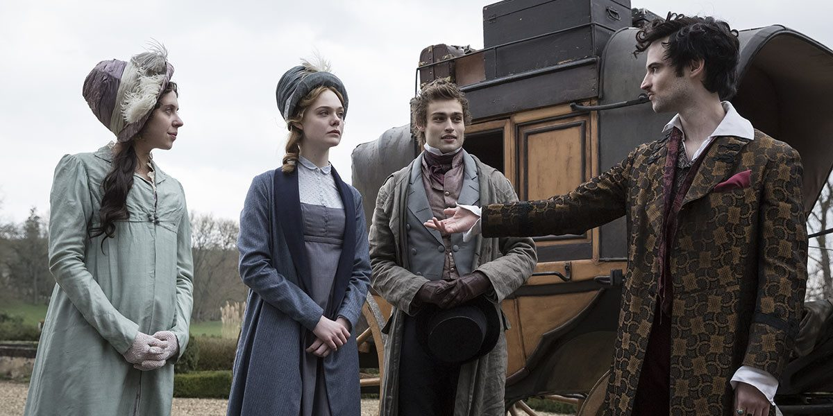Tom Sturridge, Elle Fanning, Bel Powley, and Douglas Booth in Mary Shelley