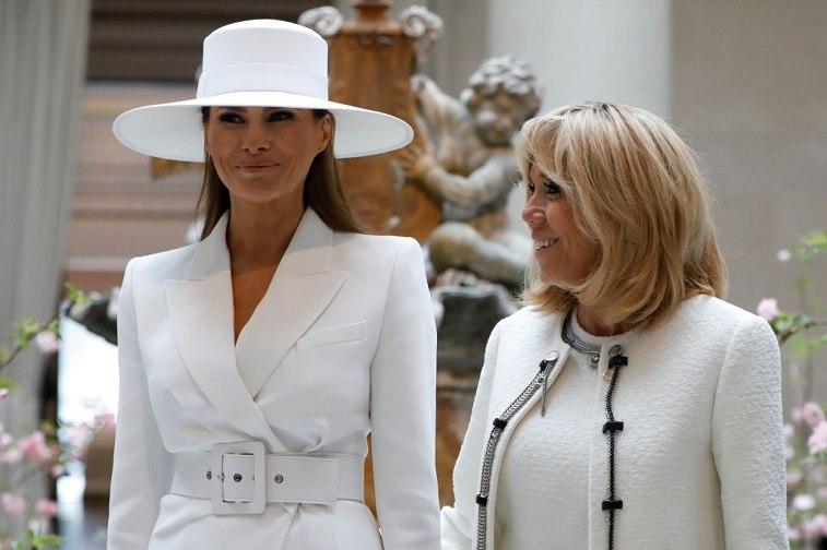 Melania Trump and Brigitte Macron