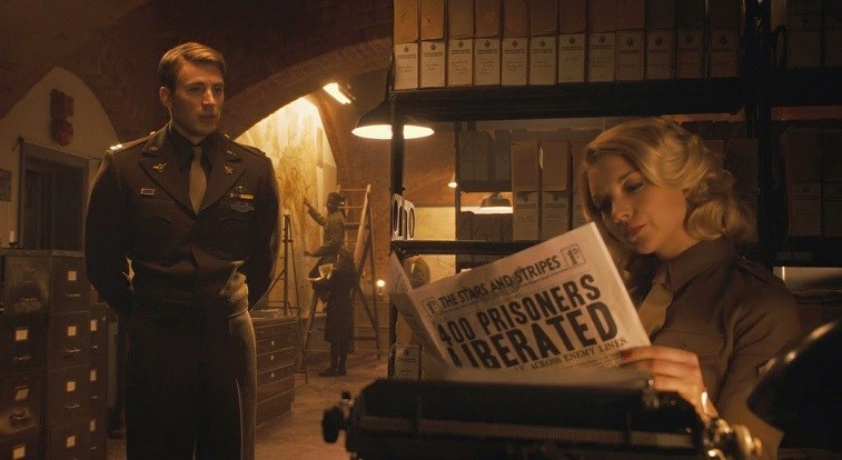 Natalie Dormer and Chris Evans in Captain America: The First Avenger
