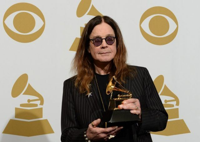Ozzy Osbourne of Black Sabbath poses in the press room after winning Best Metal Performance for 'God is Dead?' during the 56th Grammy Awards at the Staples Center in Los Angeles, California, January 26, 2014.