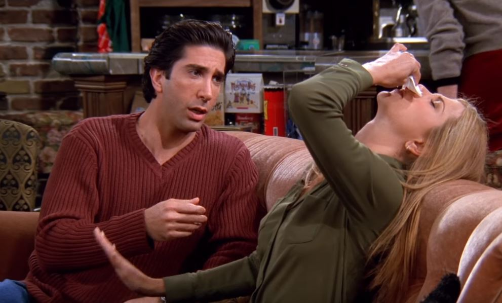 Rachel on Friends with a nosebleed