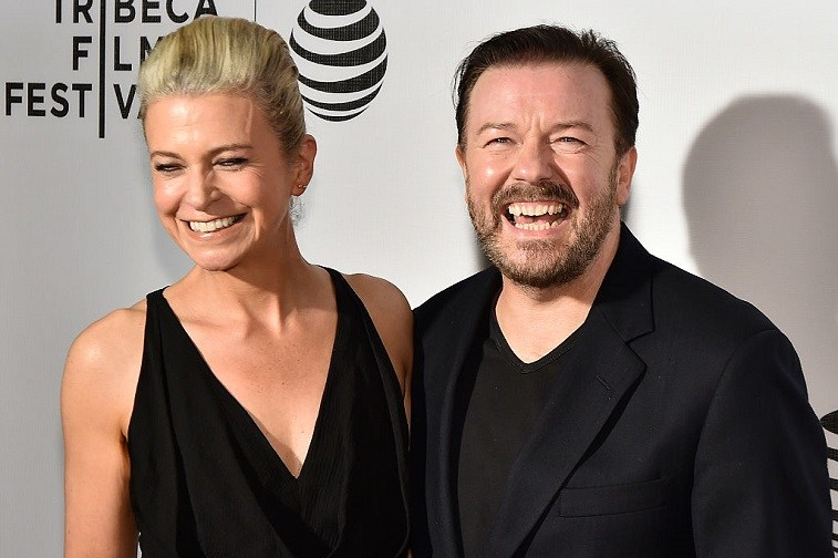 Jane Fallon (L) and director and writer Ricky Gervais attends the premiere 'Special Correspondents' during the 2016 Tribeca Film Festival at BMCC John Zuccotti Theater on April 22, 2016 in New York City.