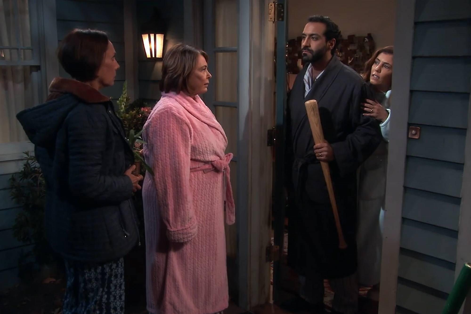 Roseanne talking to her Muslim neighbors
