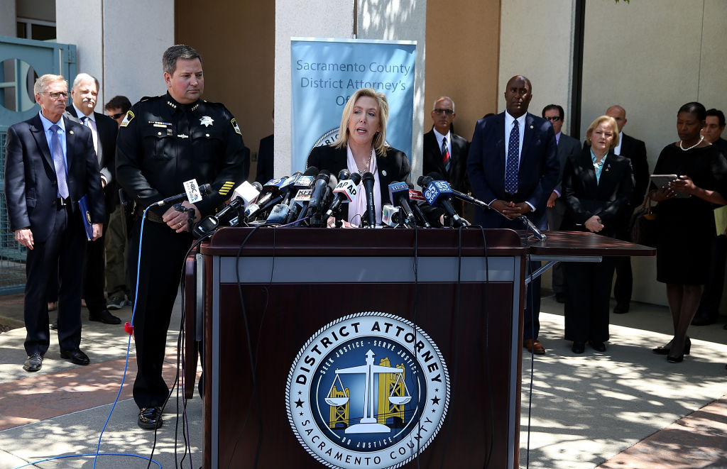 Sacramento district attorney Anne Marie Schubert (C) announces the arrest of accused rapist and killer Joseph James DeAngelo during a news conference on April 25, 2018 in Sacramento, California.