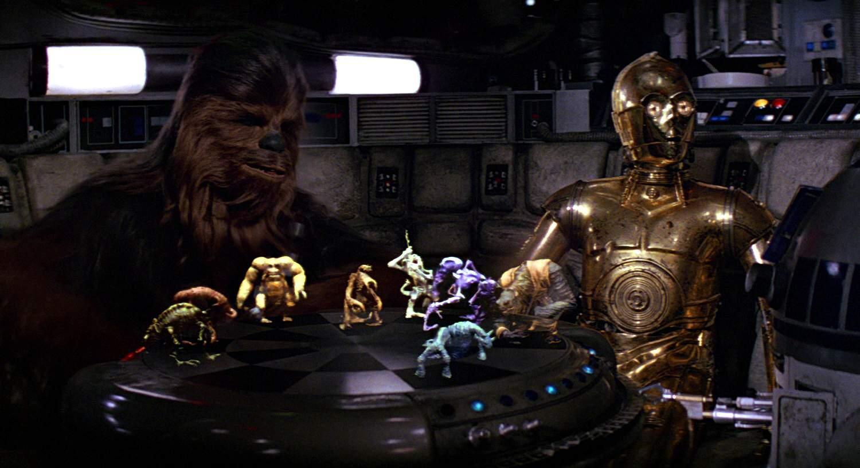 Chewie and C-3PO playing Dejarik in Star Wars