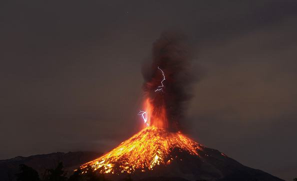 View from the Comala community, Colima State, Mexico, on January 19, 2017 of the Volcano of Fire in eruption.