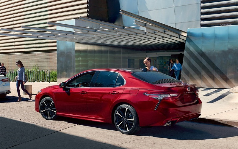 Profile of red 2018 Camry.