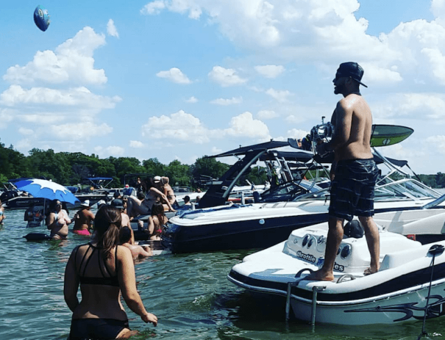 A view of the boats on party cove.
