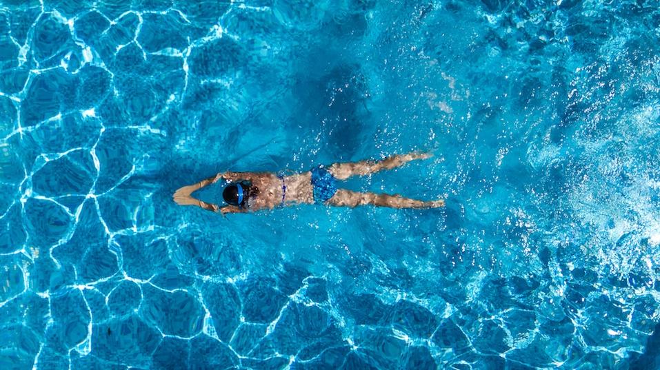 woman in swimming pool water