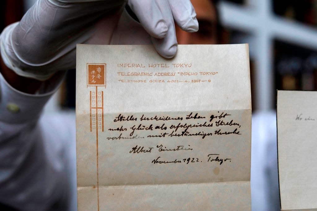 one of two notes written by Albert Einstein, in 1922, on hotel stationary from the Imperial Hotel in Tokyo Japan.