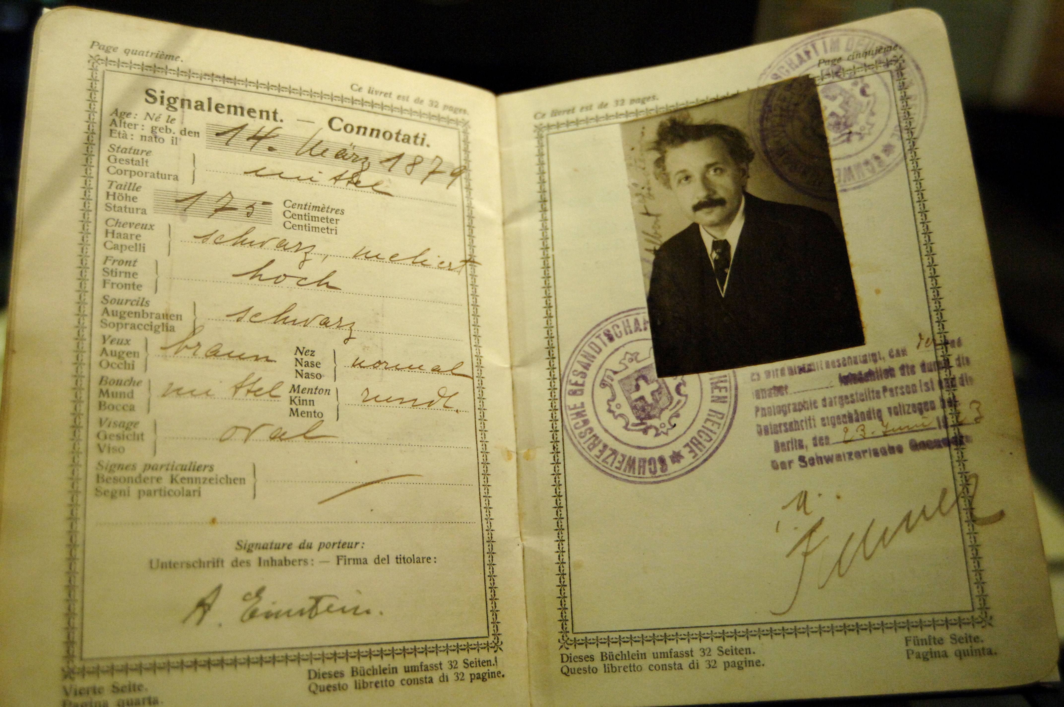 Photo of Albert Einstein's original passport