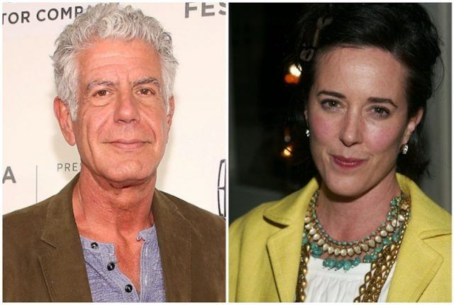 Anthony Bourdain and Kate Spade collage.