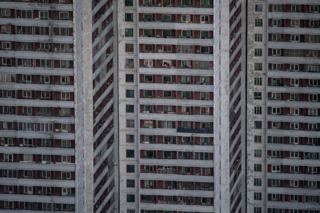 Apartment buildings in southern Pyongyang