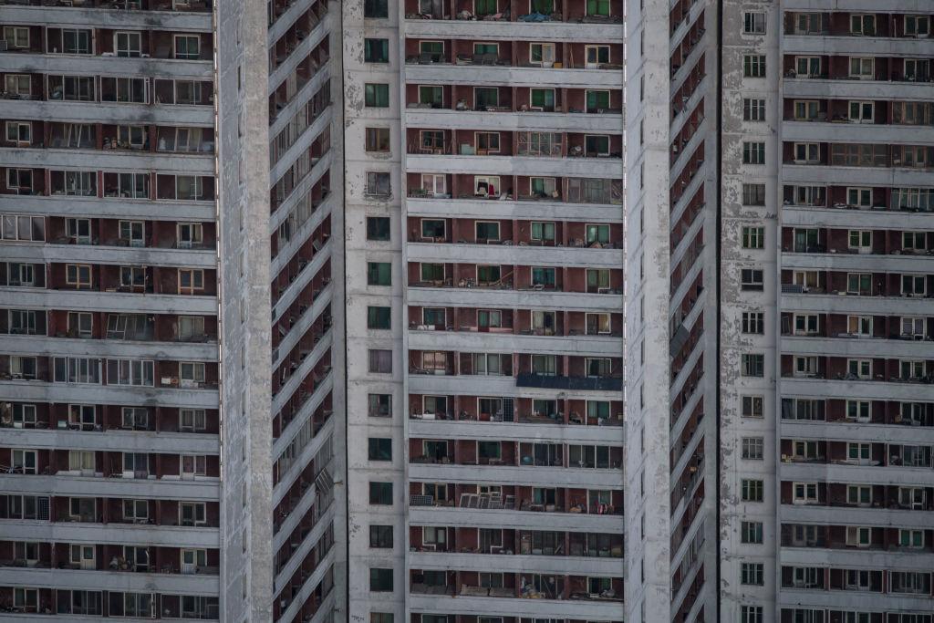 Apartment buildings in southern Pyongyang