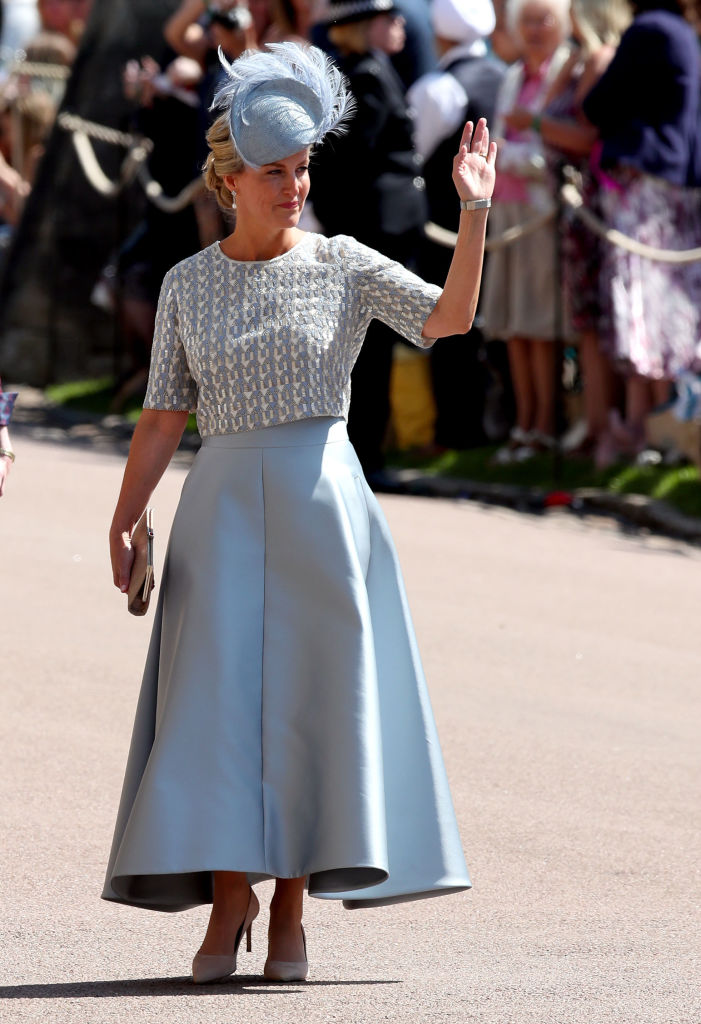 Britain's Sophie, Countess of Wessex arrives for the wedding ceremony of Britain's Prince Harry