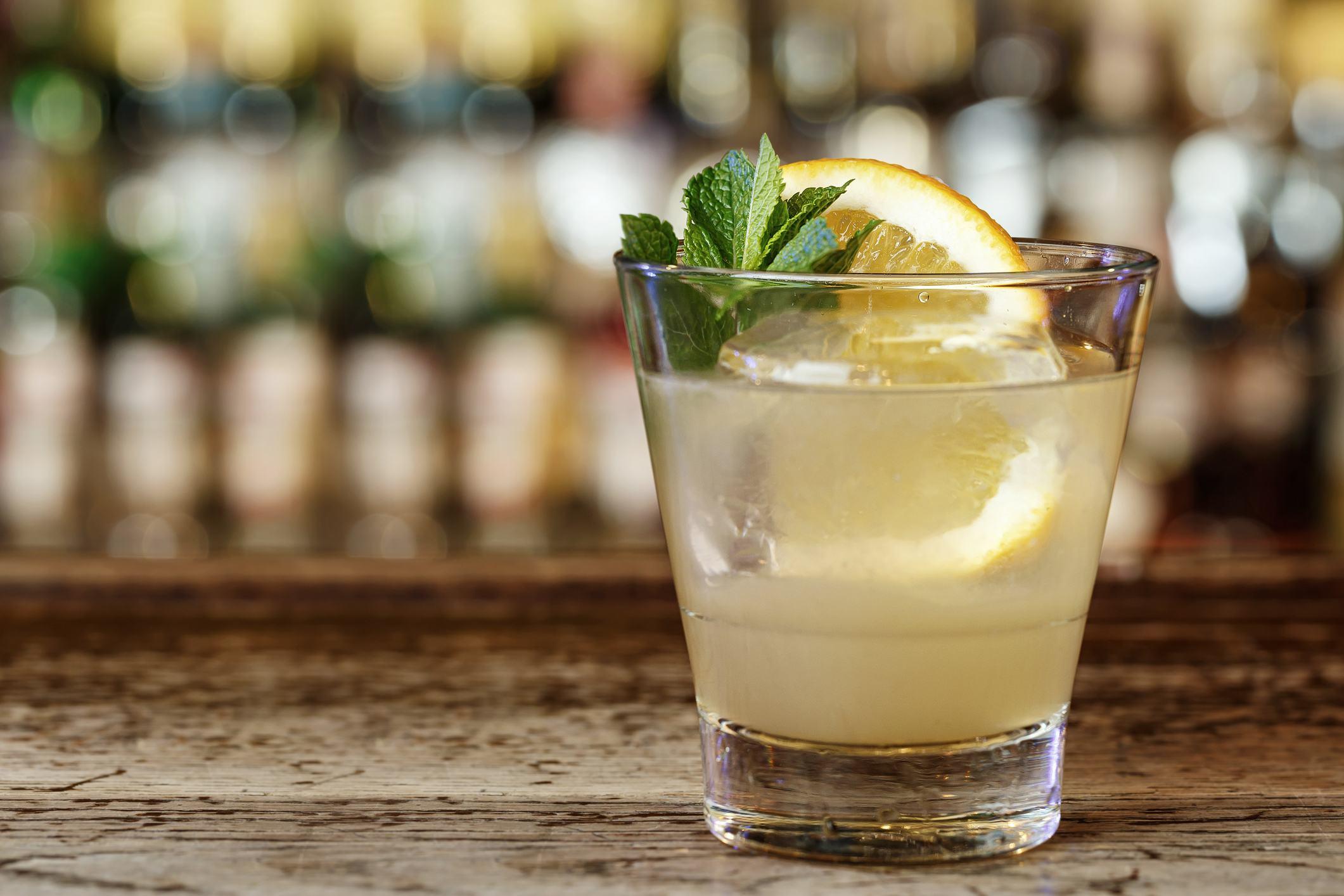 Classic American cocktail Southside based on gin, lemon juice, vodka