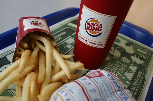 Burger King meal on a table.