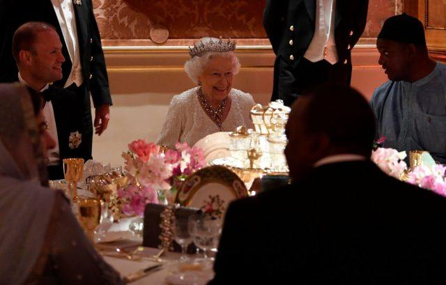 Queen Elizabeth II at the Queen's dinner during the Commonwealth Heads of Government Meeting