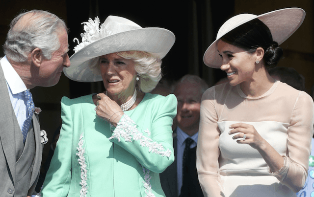 Camilla Parker Bowles and Meghan Markle speaking to Prince Charles.