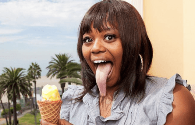 Chanel Tapper sticking out her tongue.
