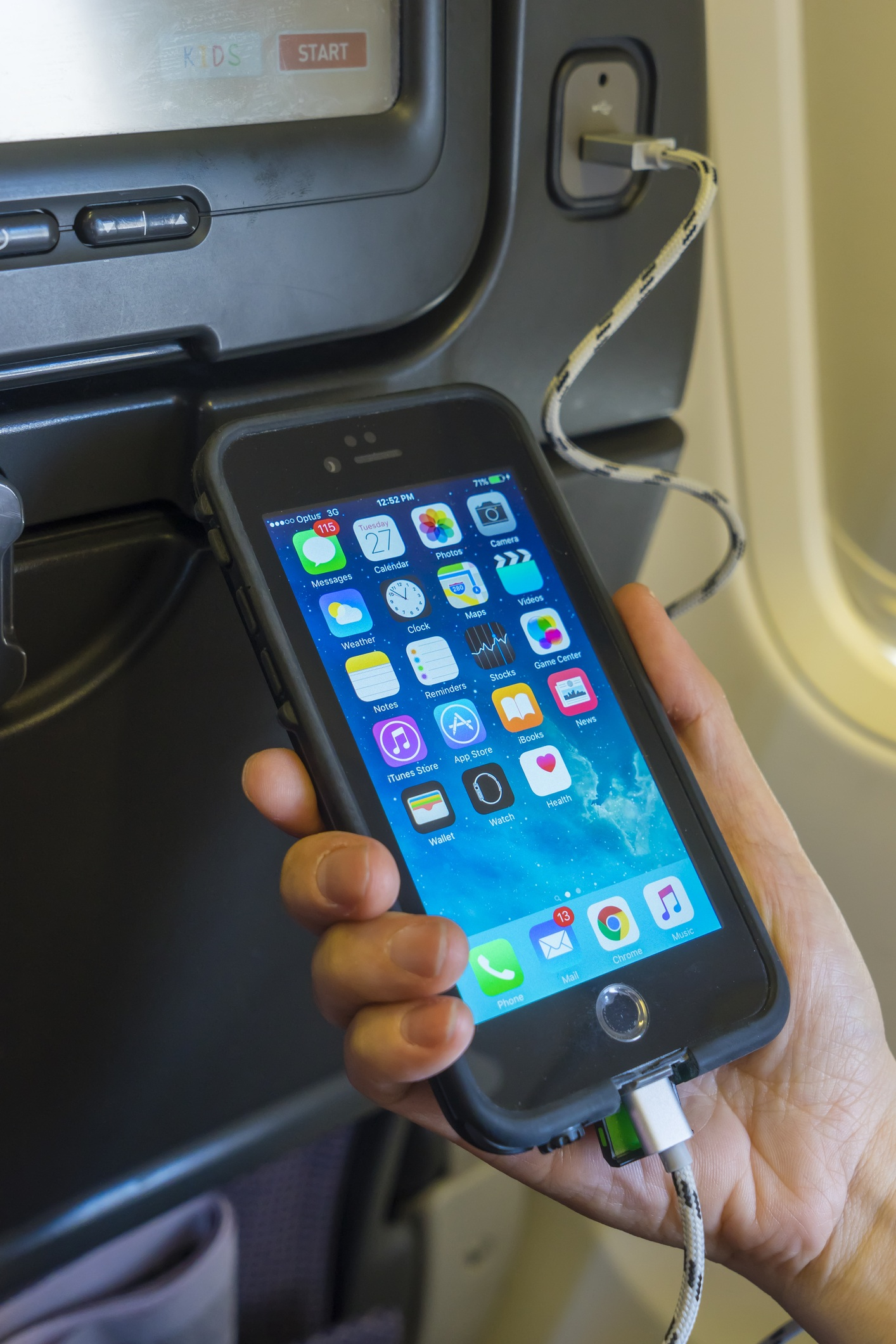 Charging mobile phone onboard an aircraft plane