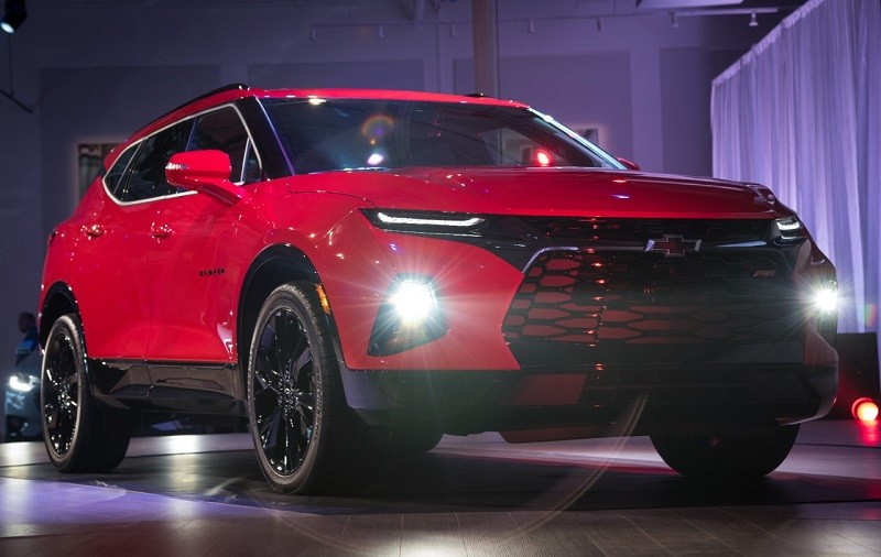 Chevrolet introduces the 2019 Blazer Thursday, June 21, 2018 during a special event in Atlanta, Georgia. Slotting between the Equinox and Traverse, the 2019 Blazer features five-passenger seating, standard 2.5L I-4 and available 3.6L V-6 engines with a nine-speed automatic transmission, and model ranges that include sporty RS (pictured here) and up-level Premier models. The Chevrolet Blazer will arrive at U.S. dealerships in early 2019.