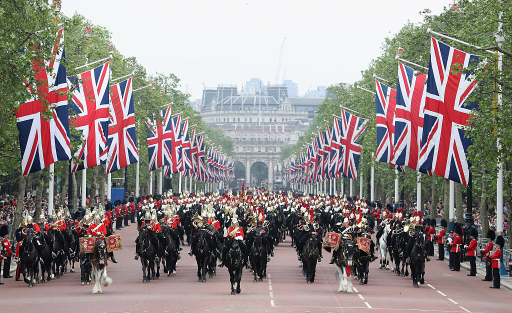 Troops march during the Colonel's Review, a traditional rehearsal for Trooping the Colour