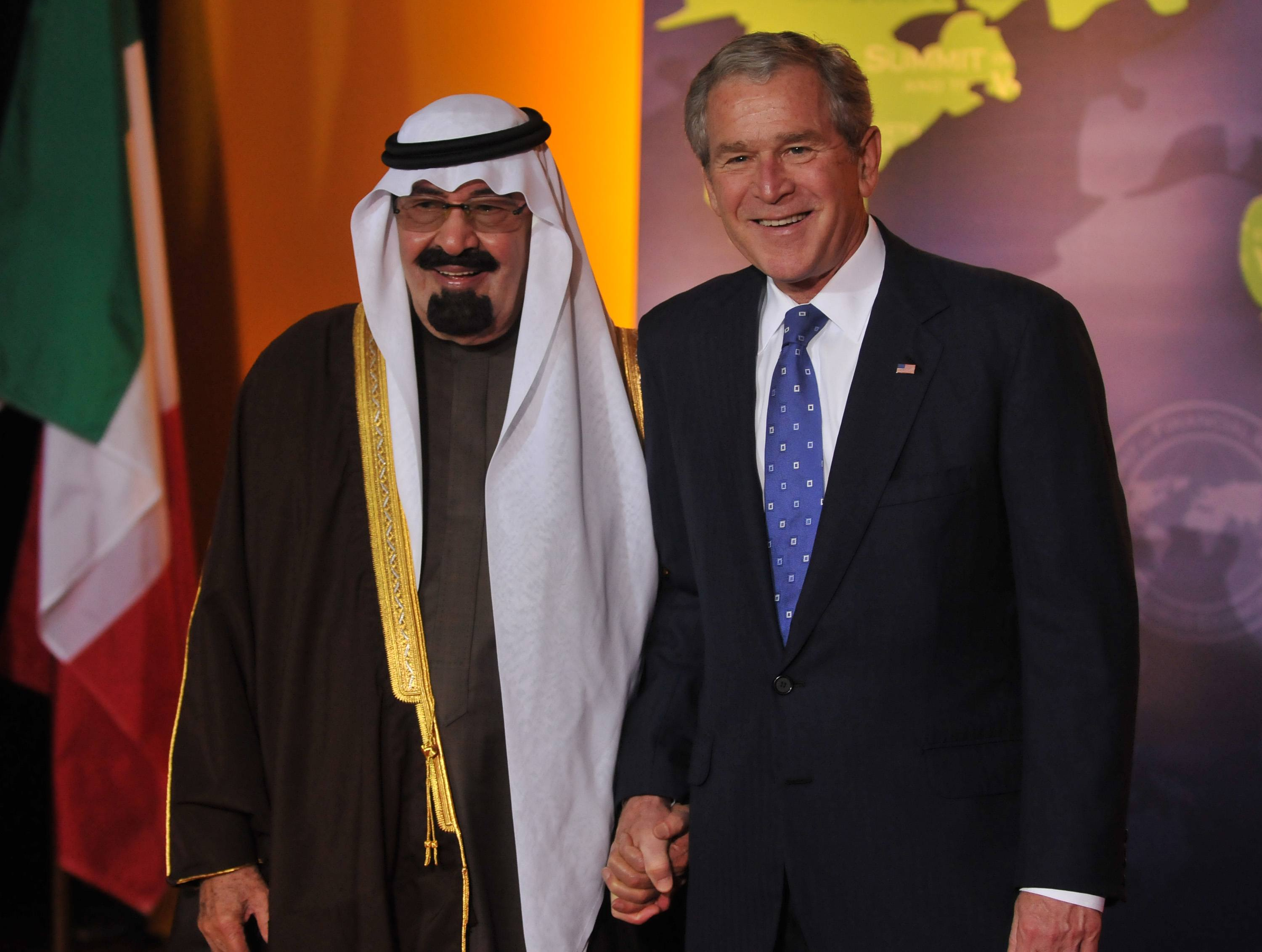 U.S. President George W. Bush poses with Saudi Arabian King Abdullah