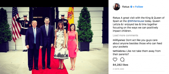 Donald and Melania Trump with the king and queen of Spain