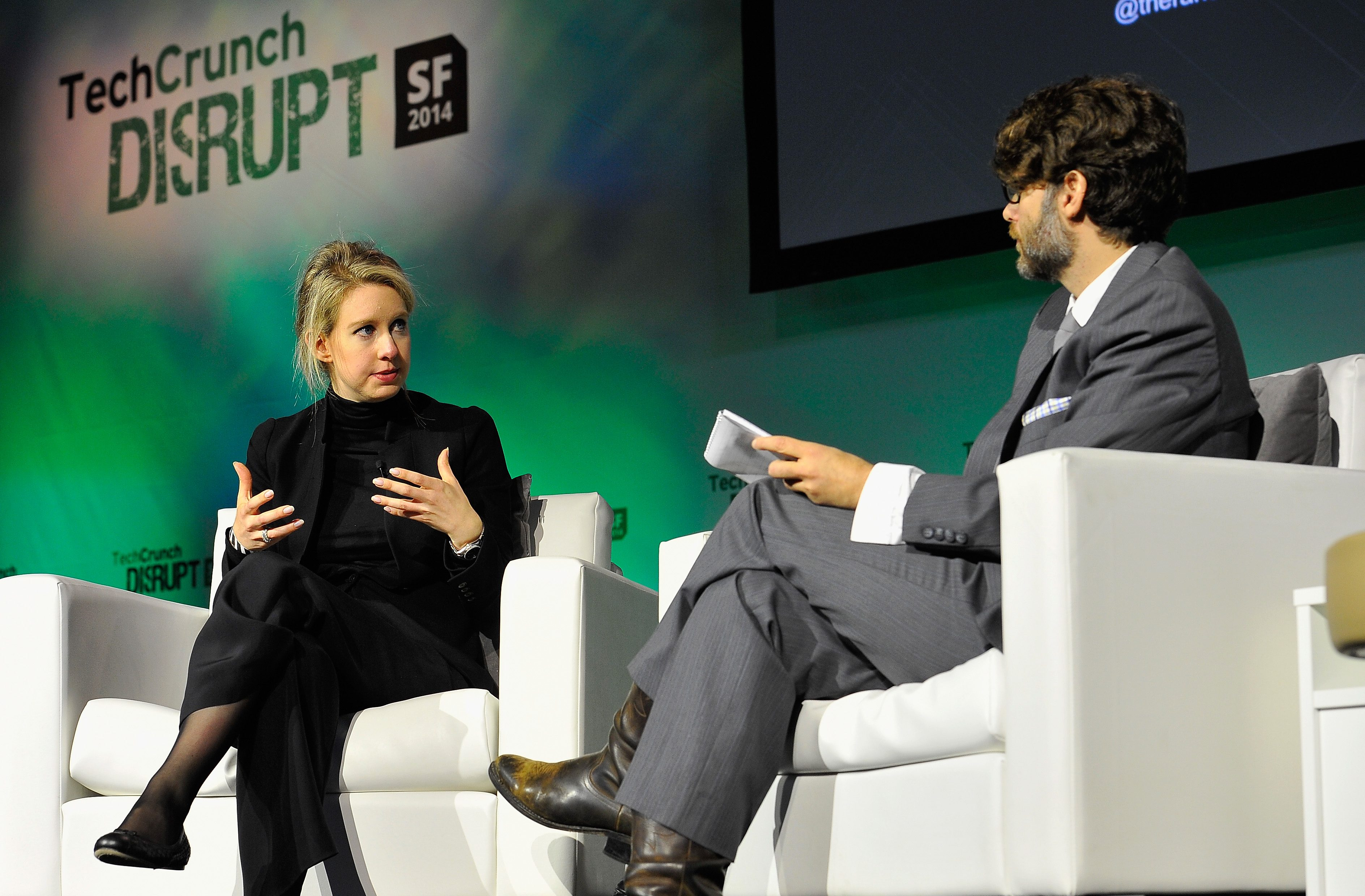 Theranos Chairman, CEO and Founder Elizabeth Holmes (L) and TechCrunch Writer and Moderator Jonathan Shieber