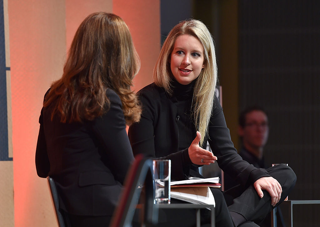 Elizabeth Holmes speaks onstage at the Vanity Fair New Establishment Summit
