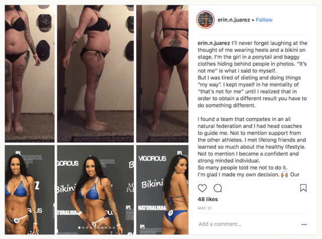 Erin's before and after photos.