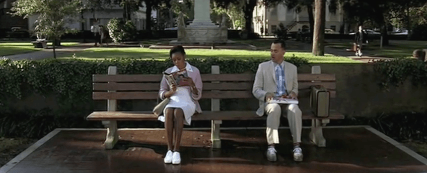 Forrest Gump sitting on a bench