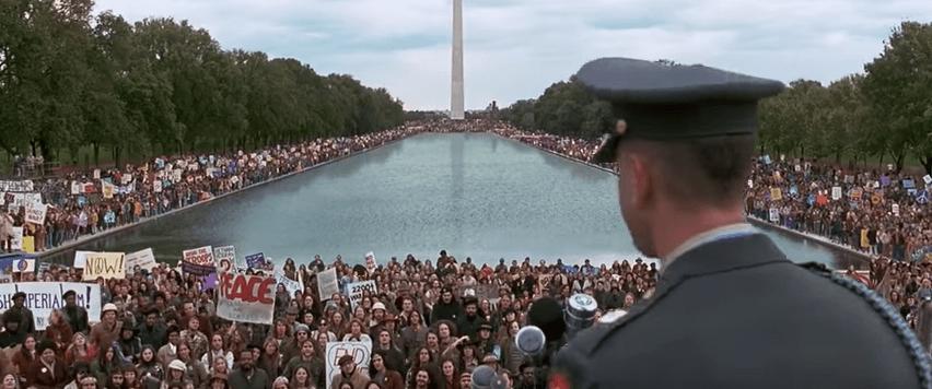 Forrest Gump speaking to a crowd in Washington, D.C.
