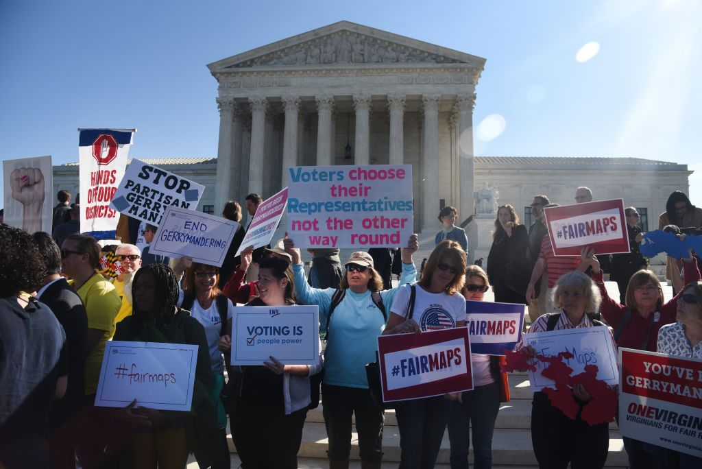 Activists Demonstrate Outside Supreme Court As Court Hears Case To Challenging Practice Of Partisan Gerrymandering