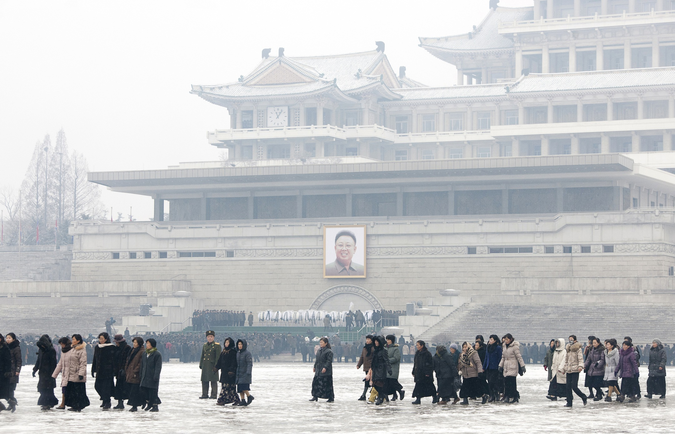 People mourning the death of Kim Jong Il