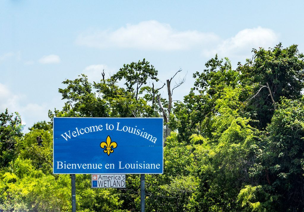 """""""Welcome to Louisiana"""" sign at the highway"""