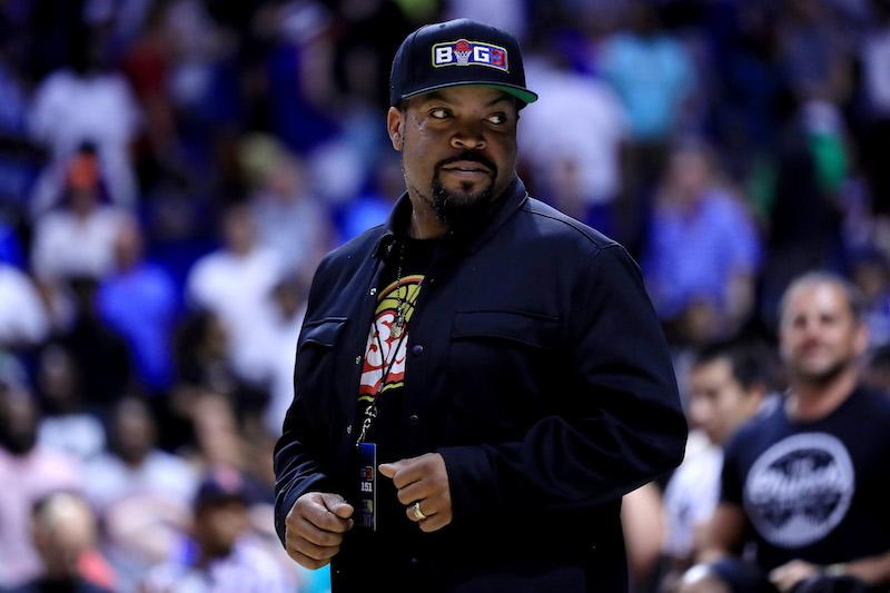 TULSA, OK - JULY 09: Ice Cube looks on during week three of the BIG3 three on three basketball league at BOK Center on July 9, 2017 in Tulsa, Oklahoma. (Photo by Ronald Martinez/BIG3/Getty Images)