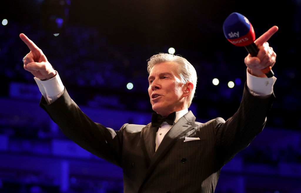 Ring announcer Michael Buffer speaks to the crowd prior to Heavyweight fight between Tony Bellew and David Haye at The O2 Arena on May 5, 2018 in London, England.