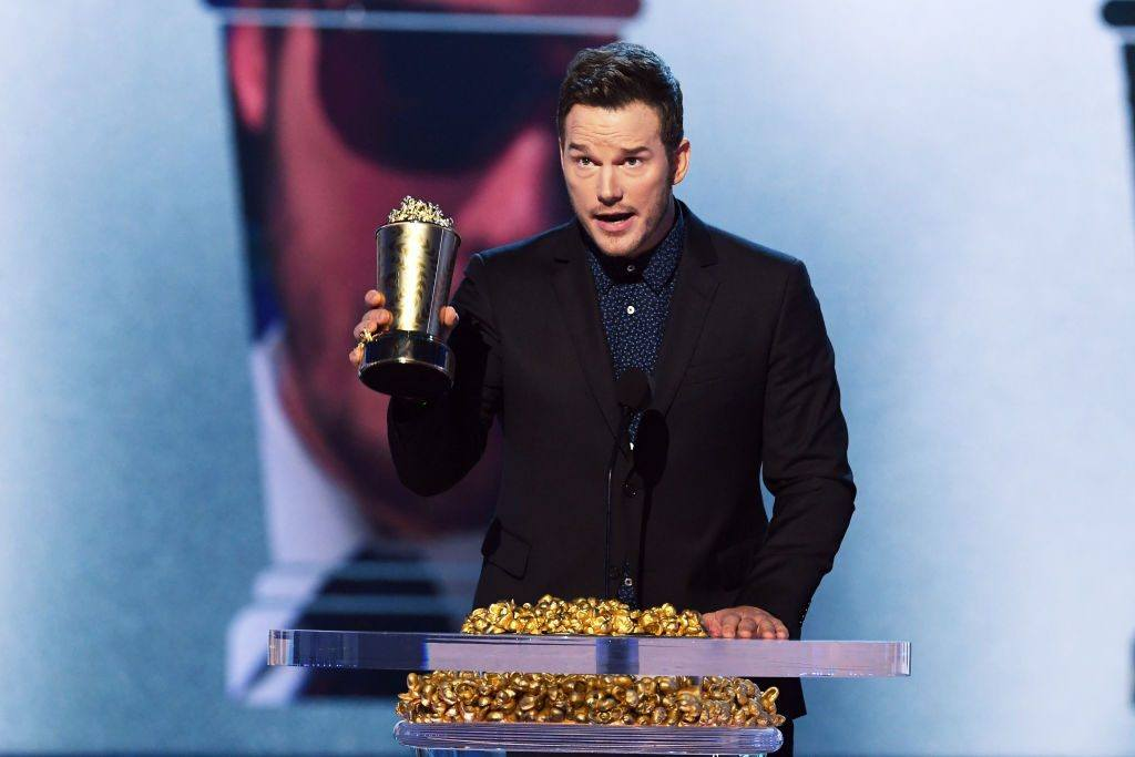 Honoree Chris Pratt accepts the MTV Generation Award onstage during the 2018 MTV Movie And TV Awards at Barker Hangar on June 16, 2018 in Santa Monica, California.